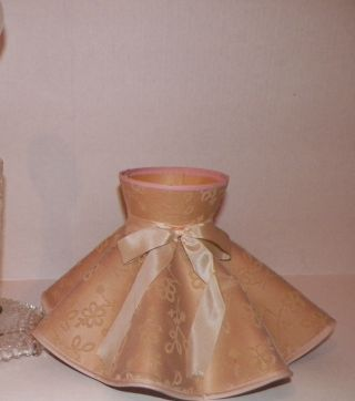 Vintage Victorian Pink Satin Lace Skirt Shaped Shade With Pink Bow photo