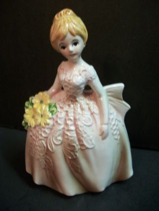 Gone With Wind Type Southern Belle Ceramic Porcelain Planter/pink/japan/ex.  Con. photo