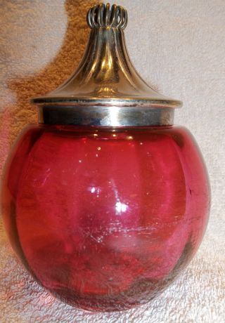 Victorian Paneled Cranberry Glass Silverplate Lidded Pickel Or Small Biscuit Jar photo