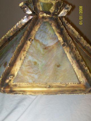 Vintage Art Deco Arts & Crafts Brass Slag Glass Hanging Lamp Works photo
