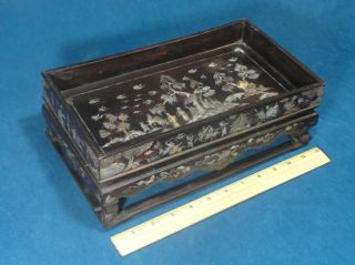 Small 19thc Antique Chinese Abalone Mother Of Pearl Inlaid Tea Tray & Stand Nr photo