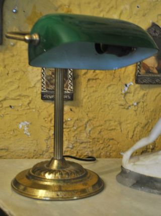 Lovely Brass Piano Desk Lamp W Green Glass Shade photo