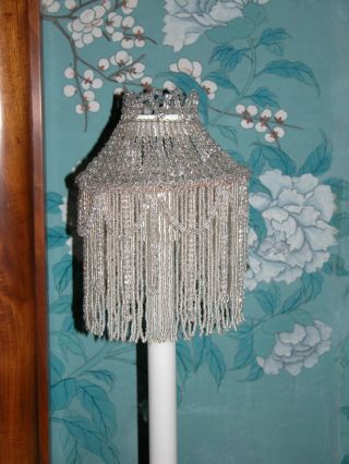Pair Of Stunning Large French Early 20th Century Glass Beaded Candle Shades photo