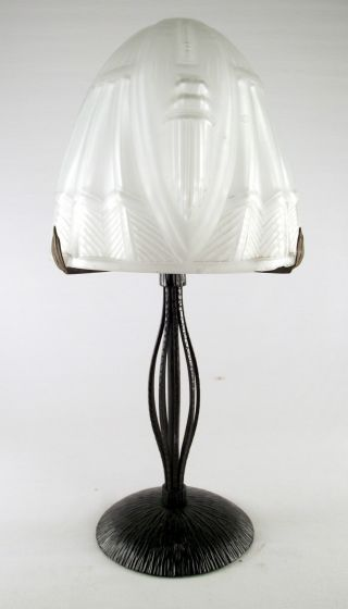 Art Deco Lamp Lampe Signed H.  Fournet Of Le Fer Forge Lyon,  France Hammered Stee photo