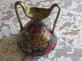 Gorgeous Double Handle Hand Painted Floral Roses Vase Nippon? photo