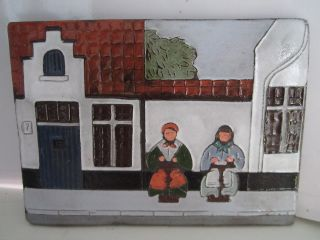 Vintage Tile Carved Clay Art Pottery Relief Town People Picture Hanging Marked photo