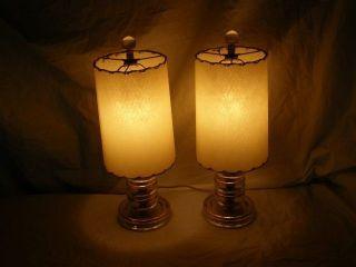 Antique Art Deco Hollywood Regency Dresser Boudoir Table Lamps Chic Romantic Old photo