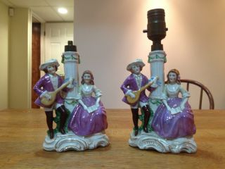 Pair Of German Porcelain Lamps Germany 13326 Minstrel & Lady In Purple Bavaria? photo