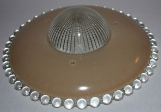 Neat Vintage Art Deco Ceiling Lamp Shade - Tan & Clear Candlewick - 3 Hole - Excel photo