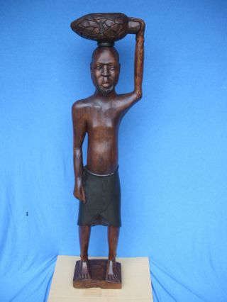 Vintage Antique Africa,  Zaire,  Belgian Congo Handcarved Tribes Man 52 Inches Tall photo