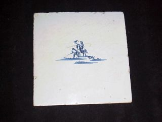 Fine Antique 18th Century Delft Tile Of A Falconer (possibly 17th Century) photo