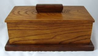 Vintage Dresser Top Hand Made \ Crafted Solid Oak Wood Box W\ Lid photo