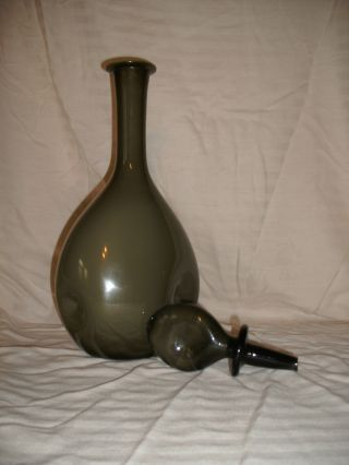 Olive Green Hand Blown Decanter W Pearl White Interior photo