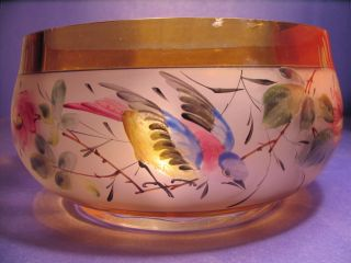 Antique Hand Painted Art Glass Bowl Amber Base And Rim Frosted Center photo
