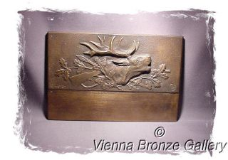 German Bronze Plaque: Belling Stag And Hunting Symbols Signed H.  Thierer photo