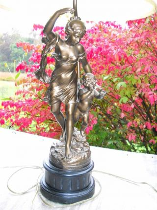 Pair Of Antique Cherub Figurine Lamps By Charles George Ferville Suan photo