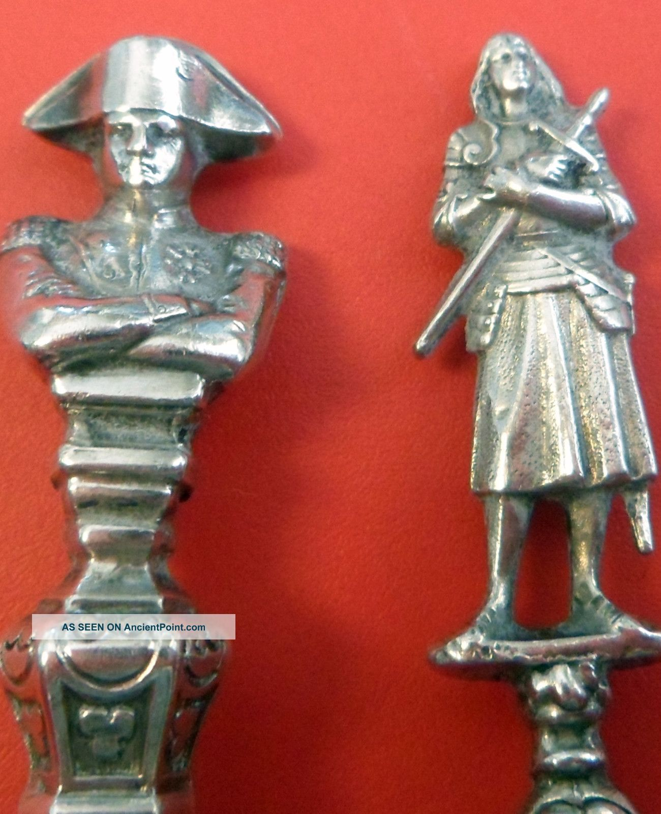 Two Antique French Souvenir Silver Spoons Paris Clerc,  Deflon,  Napoleon, France photo