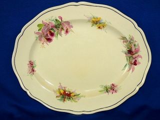 Royal Doulton Orchid Flowers Large Serving Platter Plate Vintage China 1930s photo