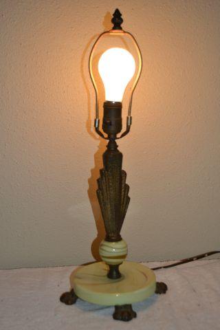 Antique Alabaster Art Deco Marble Table Lamp photo