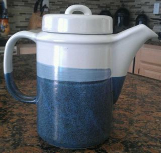 Antique Stoneware Tea Pot Blue And White photo