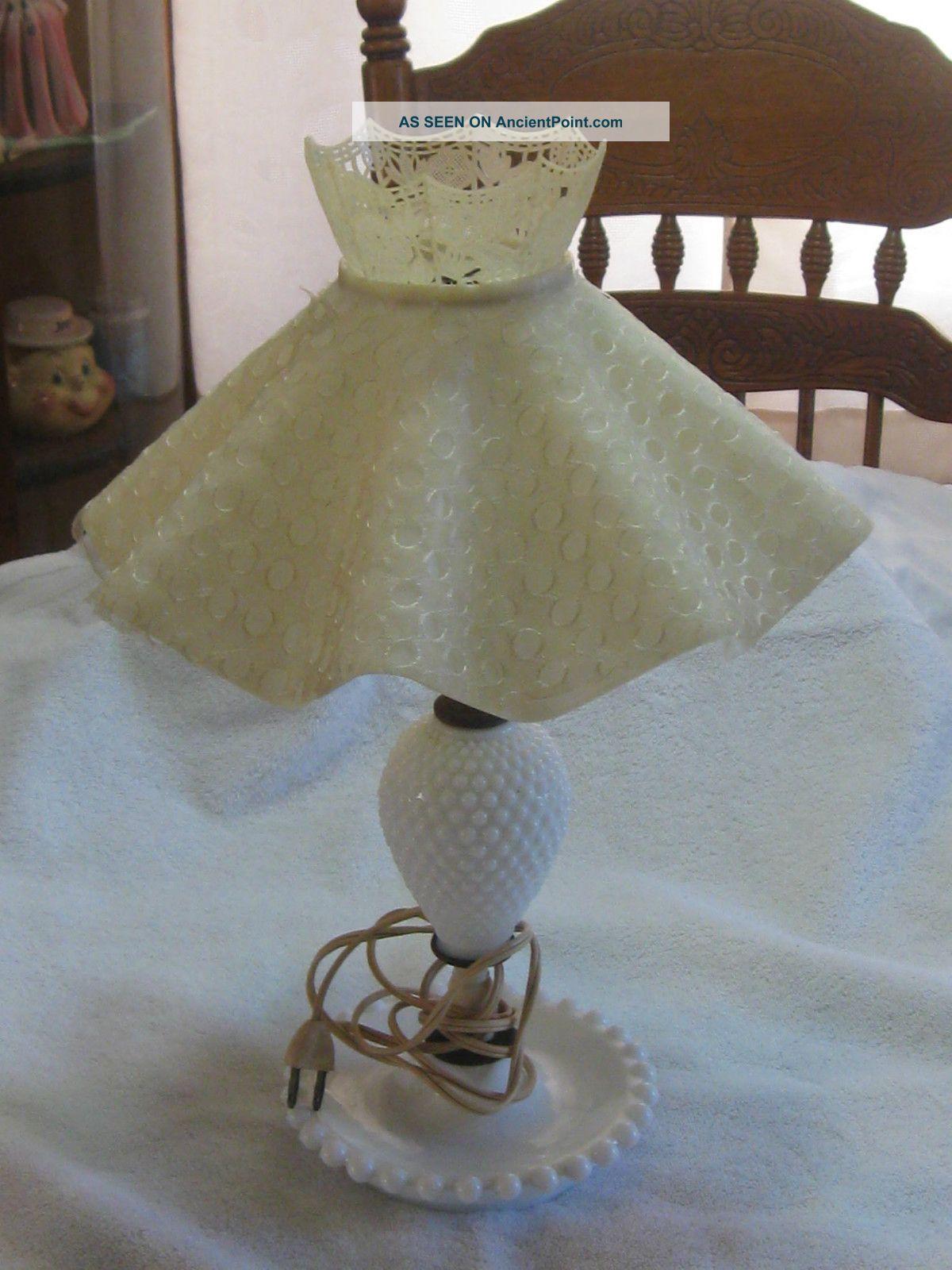 Rare hobnail milk glass lamp wvinyl cloth shade works great aloadofball Gallery