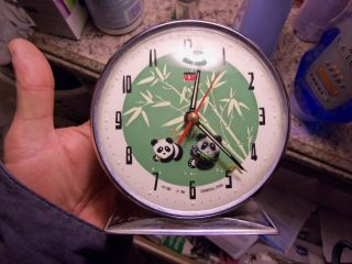 Vintage Wind Up Alarm Clock Made In Shaghai China Pre 60s Moving Pandas photo