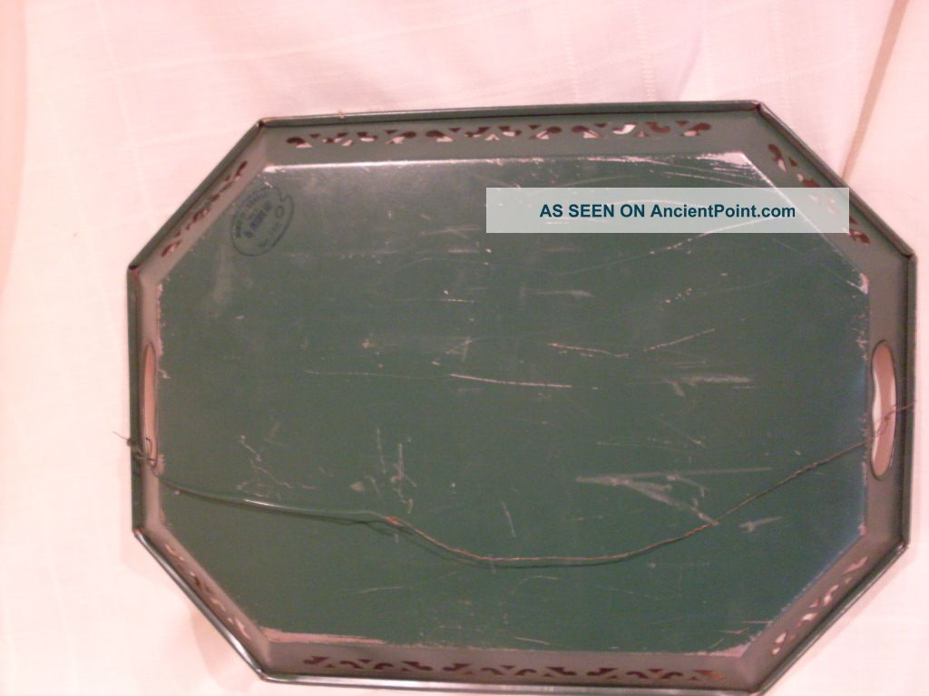 Old Green Pilgrim Art Tole Painted Tray No 148 Signed Ros Wired To Hang Toleware photo