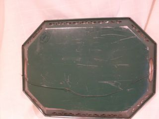 Old Green Pilgrim Art Tole Painted Tray No 148 Signed Ros Wired To Hang photo