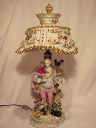 Antique Newcomb Porcelain Colonial Figurine Lamp With Porcelain Shade photo