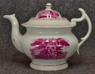 Antique Teapot Staffordshire Hilditch Pink Luster Hand Decorated 1800s Scenic photo