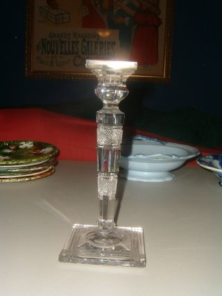 Antique English Crystal & Silver Candlestick photo