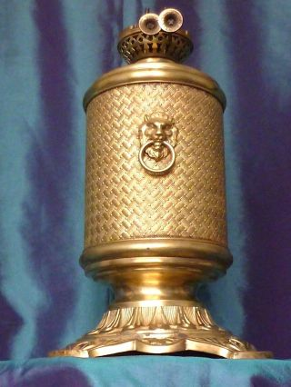 Antique Bronze Oil Lamp Ancienne Lampe Circa 1900 ' S Antique Lamp photo