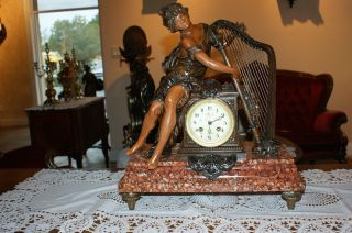 Gorgeous Antique Statue - Mantle Clock.  1890 - France photo