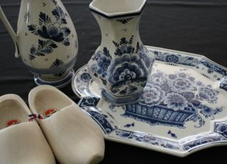 Blue & White Plate,  Vase & Pitcher - Made In Holland - & Wooden Dutch Shoes photo