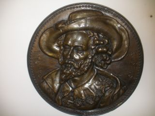 2 Antique Peter Paul Rubens Wife Helena Fourment Brass Copper Plaque High Relief photo