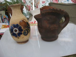 Antique Handmade Chick Creamer And A Vase photo