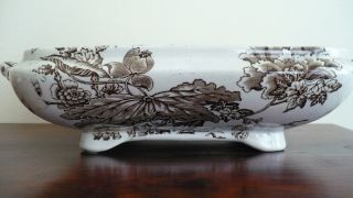 Antique Brown Transferware Mended Tureen C W Mcnay Ca 1910 Grange Bottom Only photo