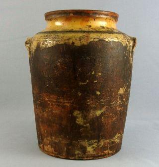 Ca.  1900 Antique Folk Art Primitive Glazed Redware Yelloware Pottery Earthen Jar photo