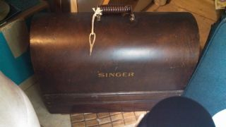 Singer Wooden Sewing Case With Key photo