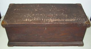 Rare Antique Wooden Horse Tack Box Dovetail Joints Brass Corners & Hardware photo