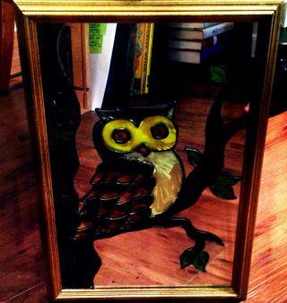 Custom Framed Antique Owl Mirror photo