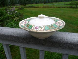 Vintage Fenton,  Staffordshire England Morley,  Fox Co Cover Dish Tureen Lung Chin photo