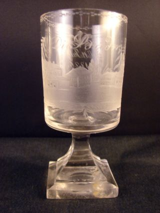 19th C Blown Engraved German Spa Or Souvenir Glass Dated July 11,  1826 Square Ft photo