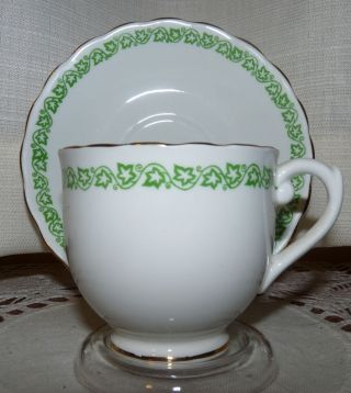 English Castle Staffordshire England Cup And Saucer,  Ivy Pattern photo