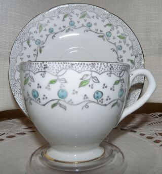 Vintage English Castle Cup And Saucer Madein Staffordshire England,  Blue Berries photo
