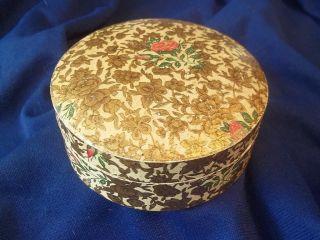 Vtg.  Paper Mache Japan Alcohol Proof Coaster Dresser Gold Floral / Rose Box photo