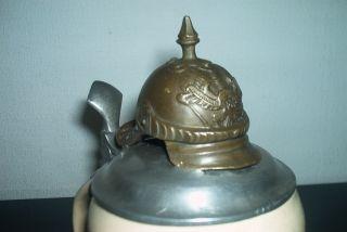 Antique German Mettlach Beer - Stein - - Regimentalstein Pickelhaube photo