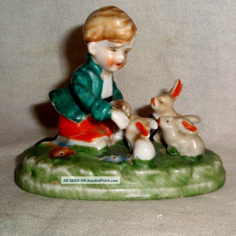 Vintage Delicate Detailed Moriage Boy Plays With Pet Rabbits Figurine No Damage Figurines photo
