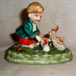 Vintage Delicate Detailed Moriage Boy Plays With Pet Rabbits Figurine No Damage photo