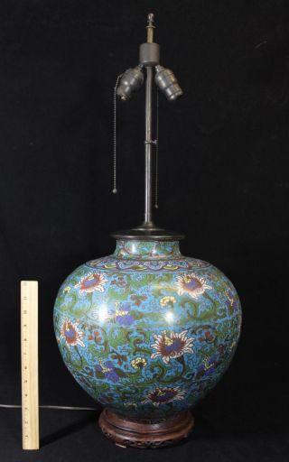 Large Antique 19thc Chinese Champleve Enamel Vase/urn Table Lamp Nr photo